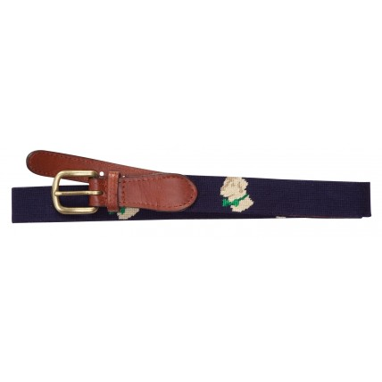Navy Needlepoint Logo Belt